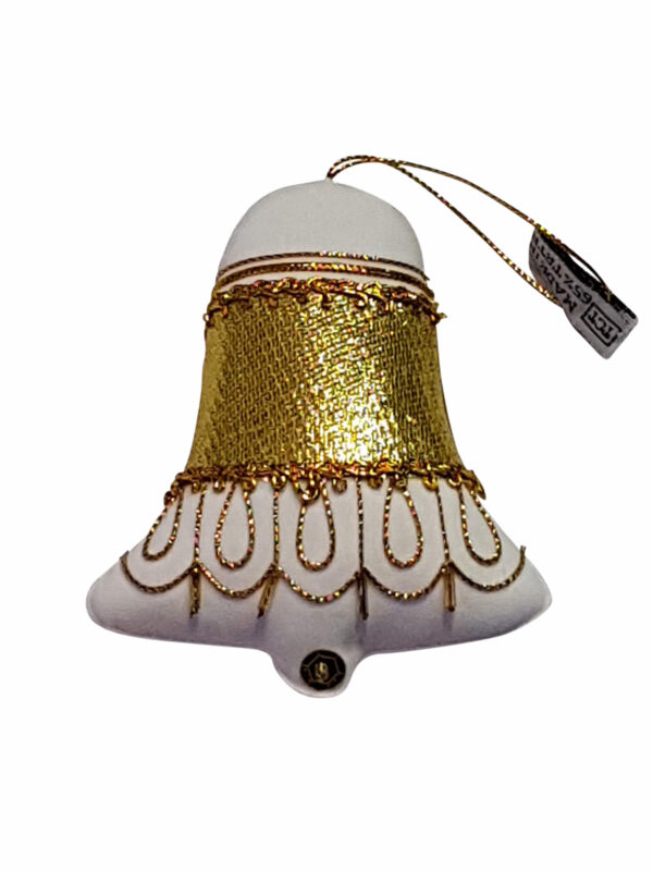 Decoration Bell White/Gold – Hand Made
