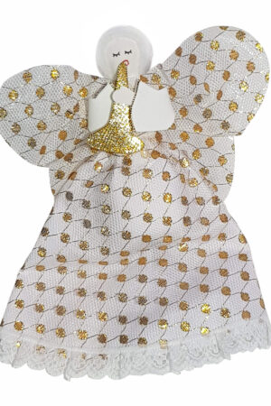 Decoration Angel Tree Topper Cream/Gold – Hand Made
