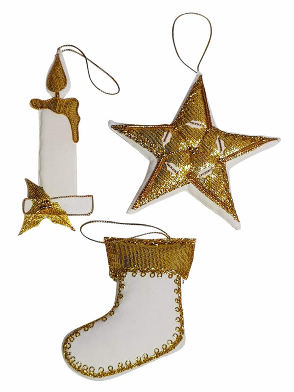Christmas Decoration set Stocking, Star and Candle White/Gold – Hand Made