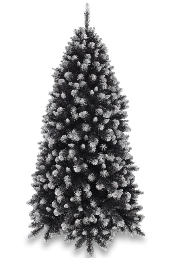 6ft Grand Empress Spruce Christmas Tree Black Frosted Silver 1.83m