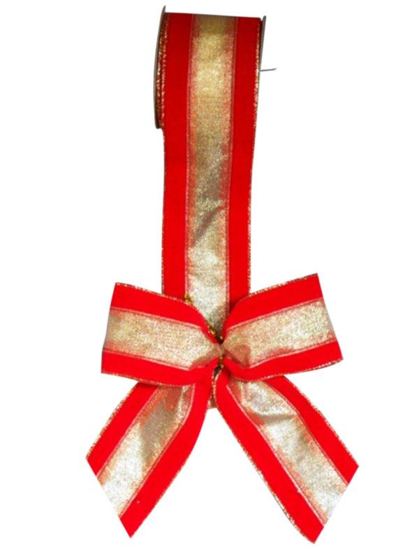 Bow Red Velvet Gold Stripe (Pack of 10)