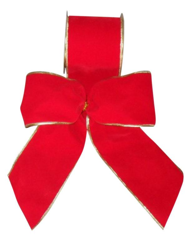 Ribbon Red Velvet Gold Trim 10cm