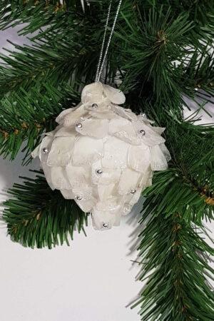 Christmas tree decoration Iridescent mica Pomegranate – Cream