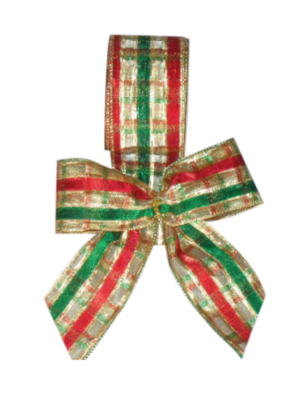 Ribbon Check with Gold Green and Red Pattern