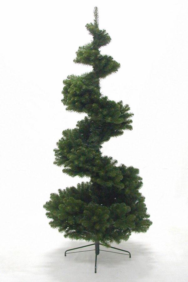 7.5ft Spiral Pine Tree Hinged Green 2.28m