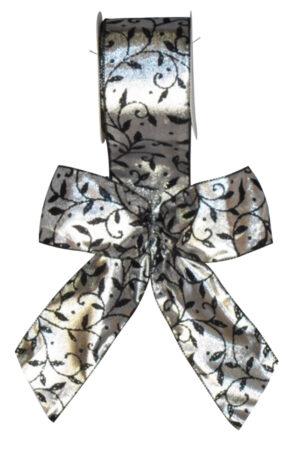 Bow Silver Satin with Black Flocked Leaf Design (Pack of 10)