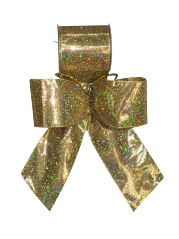Bow wired Gold Lame with Sparkles 6.5cm (Pack of 10)