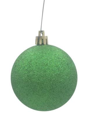 Christmas Ball 70mm Glitter Green
