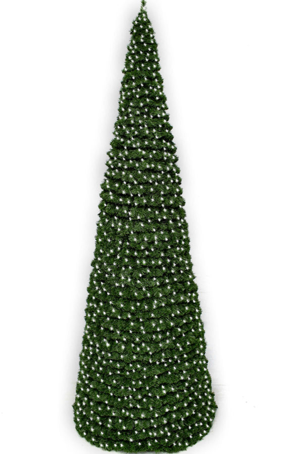 Cone Tree with White Lights