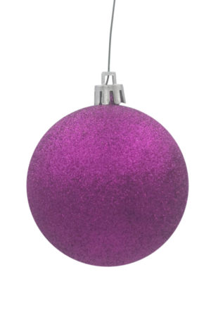 Christmas Ball 50mm Glitter Purple