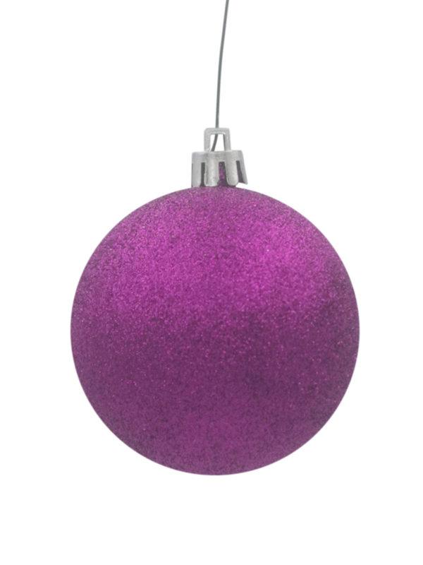 Christmas Ball 100mm Glitter Purple
