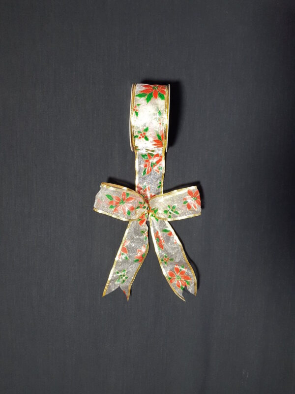 Ribbon with Poinsettia Print