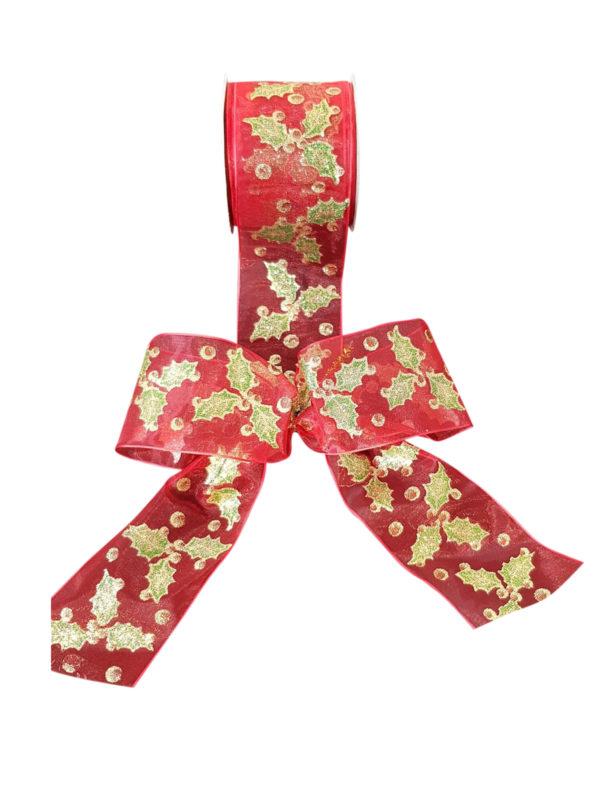 Ribbon with Holly Print