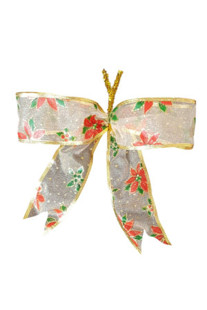 Christmas Bow with Poinsettia Print (Pack of 10)