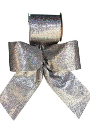 Christmas Bow Silver Lame with Sparkles 8cm (Pack of 8)