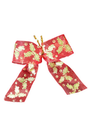 Christmas Bow with Holly Print (Pack of 10)