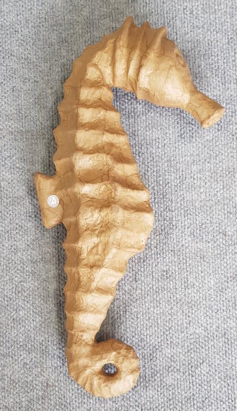 Papier Mache Seahorse Large Unpainted