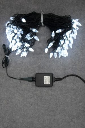 Commercial Christmas LED x 104 White Light  ACORN Capped with Green cord Outdoor