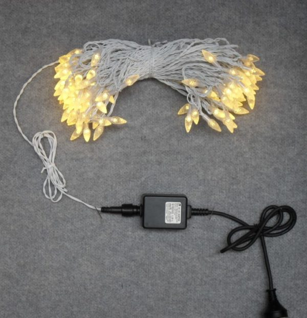 Commercial Christmas Lights LED x 104 Warm White light ACORN Capped with White cord Outdoor