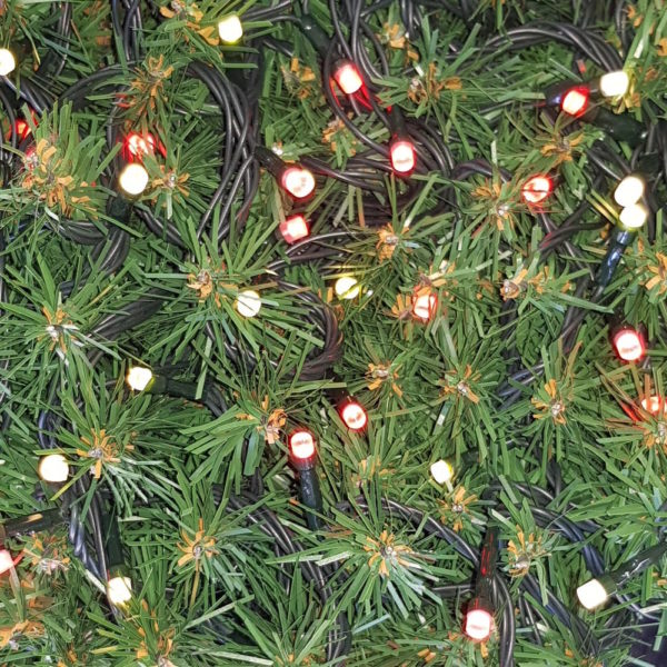 Christmas Tree Light string x 160 with Alternate LED's  – Red/Warm White Lights