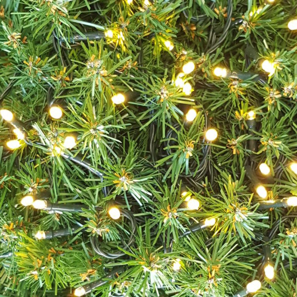 Christmas Tree LED light string x 160 Warm White Lights with green cord