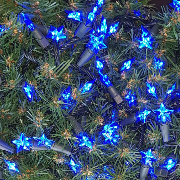 Christmas Tree Star string Blue LED Lights x 160 with green cord