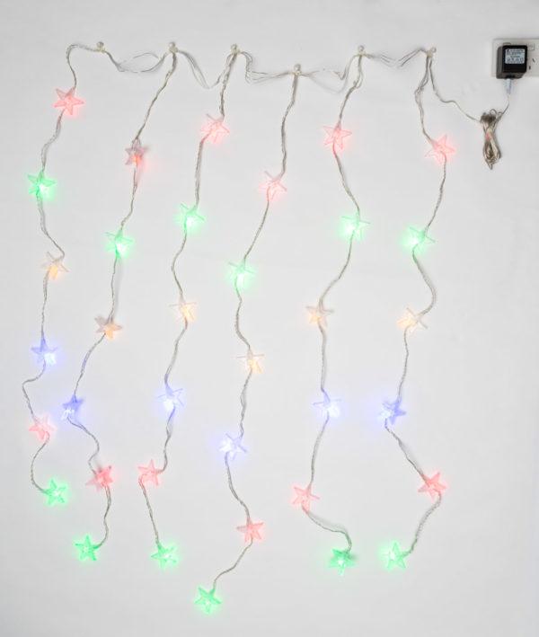 Christmas Star Curtain x 36 LED with Multi Colour Light