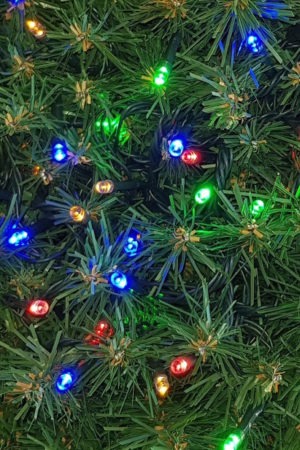 Small Christmas tree Lights x 60 LED Twinkling Static Green Cord – Multi Colour – Indoor/Outdoor