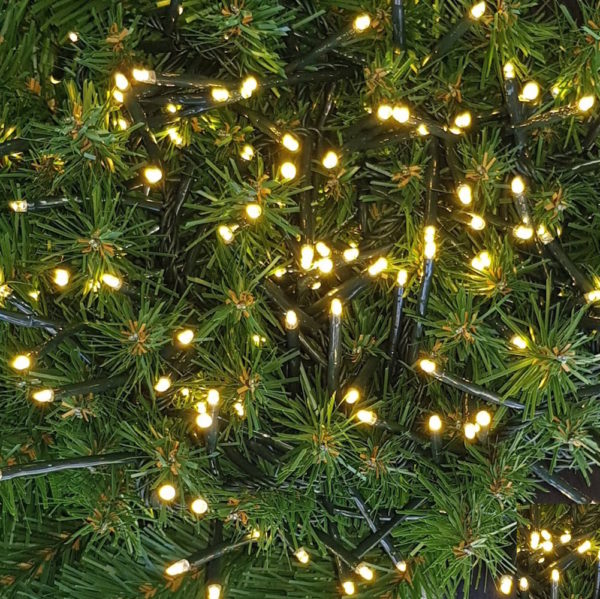Indoor/Outdoor Lights for Christmas Tree or Garland 200 LED Single String Warm White 2 Function + Transformer