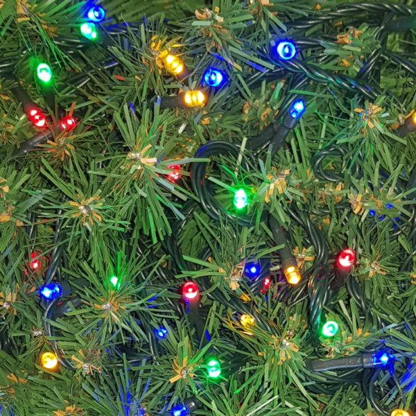 Christmas LED Lights x 100 Multi with Green cord