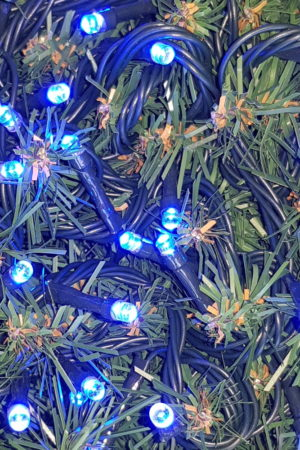 Christmas LED Lights x 100 Blue with Green cord