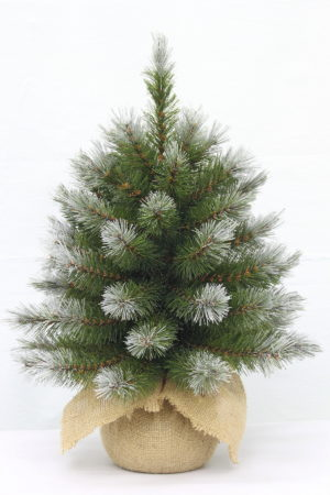 1.5ft Pittsburgh Spruce Christmas Tree Green Frosted 46cm in Burlap base