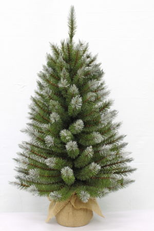 3ft Pittsburgh Spruce Christmas Tree Green Frosted in Burlap base 91cm