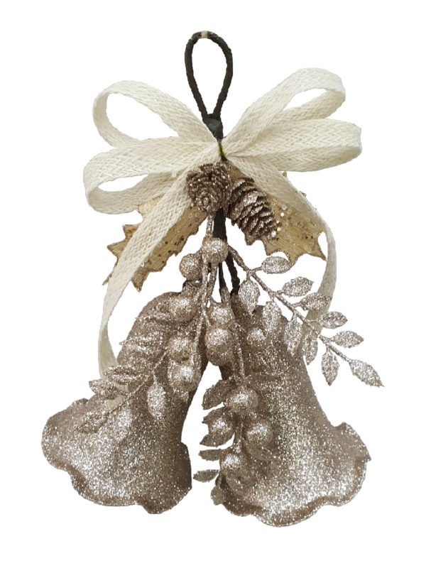 10 inch Bell Double Christmas Decoration 26cm Champagne