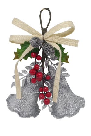 Bell Double Christmas Decoration 26cm Silver