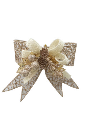 5 inch Bow Christmas Decoration 13cm Champagne