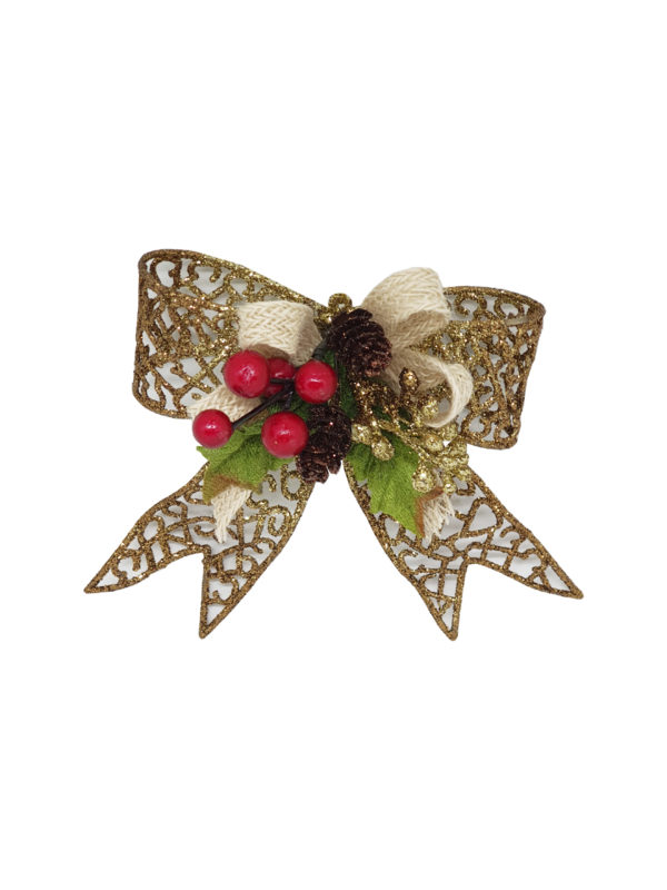 5 inch Bow Christmas Decoration 13cm Gold