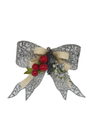 5 inch Bow Christmas Decoration 13cm Silver
