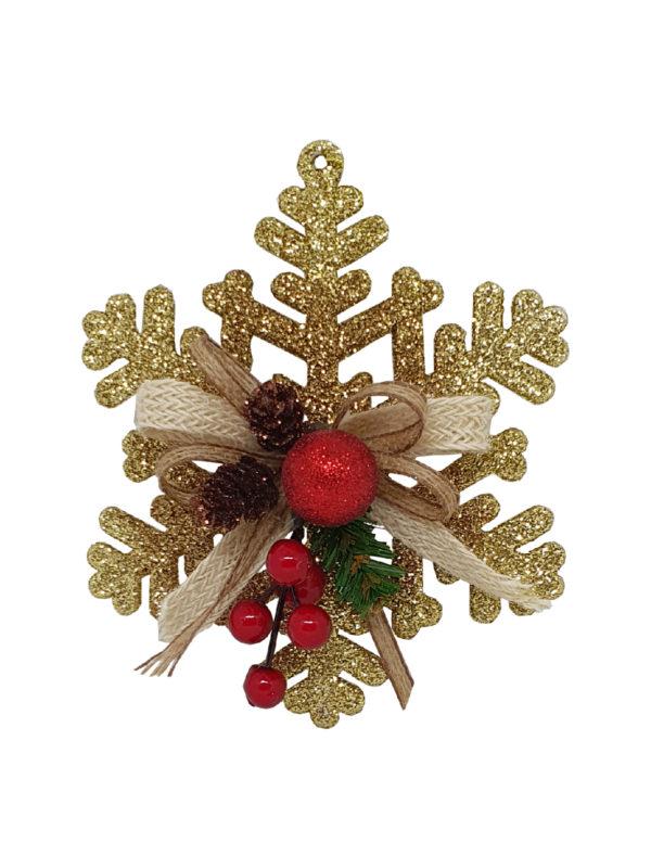 6 inch Snowflake Christmas Decoration 15cm Gold