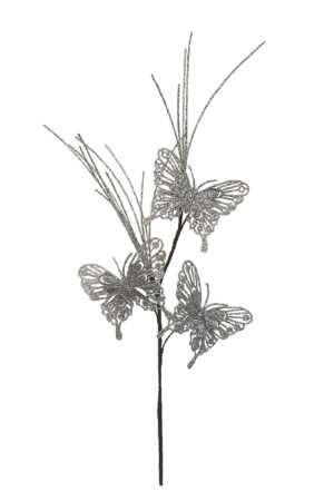 24 inch Butterfly Spray Christmas Decoration 61cm Silver
