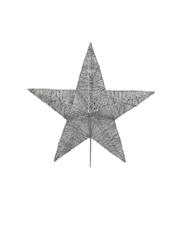 Star Christmas Tree Topper 33cm Silver