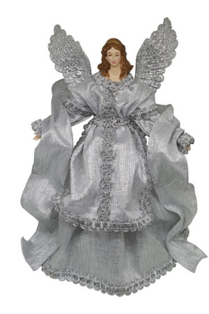 14 inch Angel Christmas Tree Topper 36cm Silver