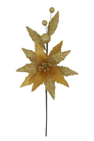13.5 inch Poinsettia Pick 34cm Gold