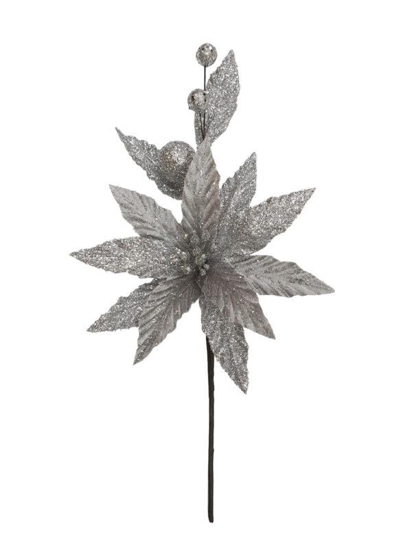 13.5 inch Poinsettia Pick 34cm Silver
