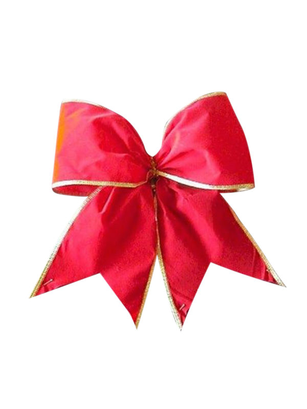 Bow Red Velvet with Gold Trim (Pack of 8)