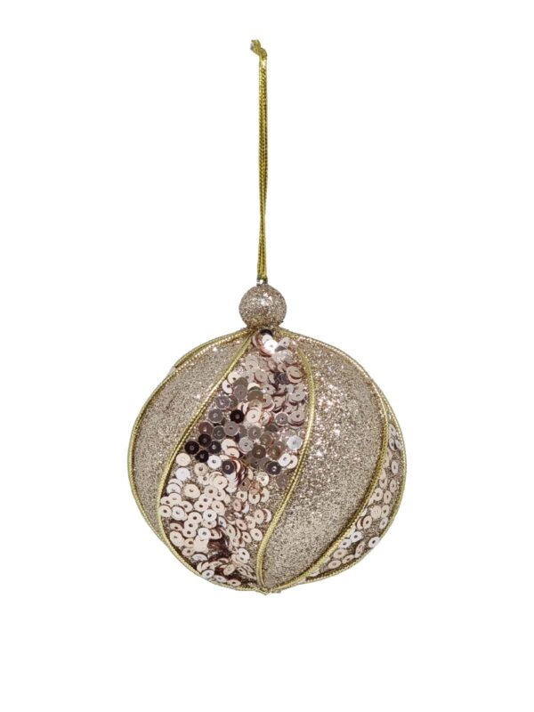 Christmas Ball Champagne Textured 80mm