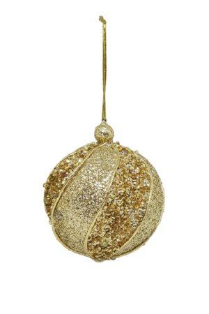 Christmas Ball Gold Textured 80mm