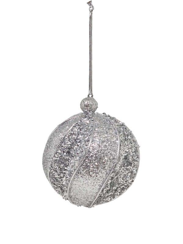 Christmas Ball Silver Textured 80mm