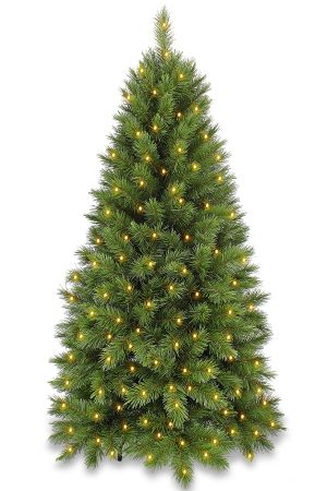 5ft Slim Vienna Spruce Christmas Tree Pre Lit Hinged 1.52m with 200 LED's