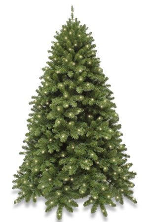 6ft Pre Lit Scandia Spruce Christmas Tree Hinged 1.83m with 320 Warm White LED's
